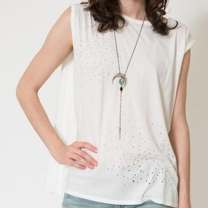 Knot Sisters SIOUXSIE TANK White Distressed Cape